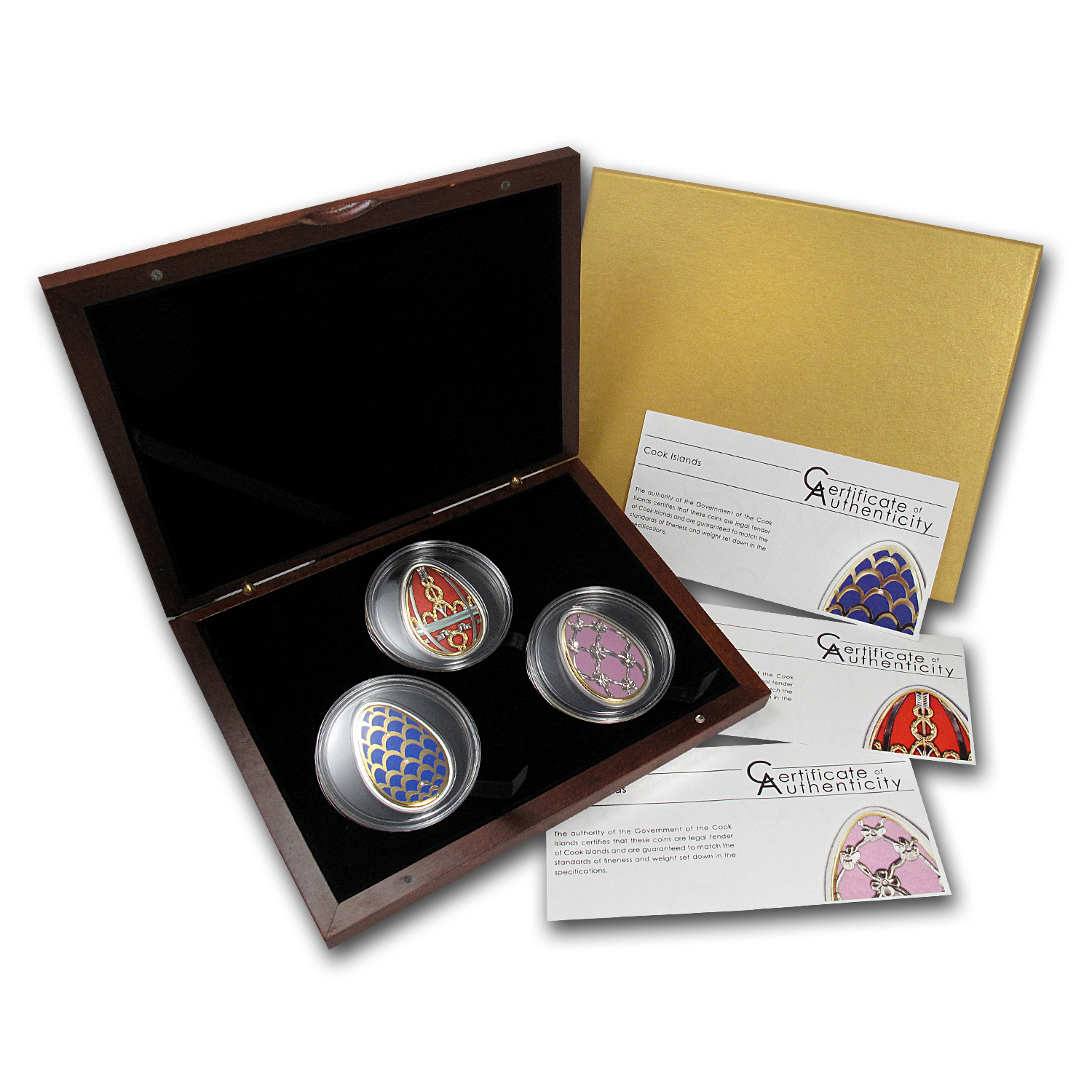 2012 Cook Islands 3-Coin Silver Imperial Eggs in Cloisonné Set